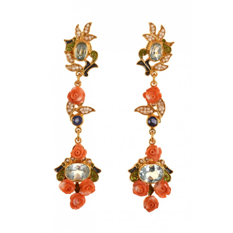 FLORAL CORAL EARRINGS