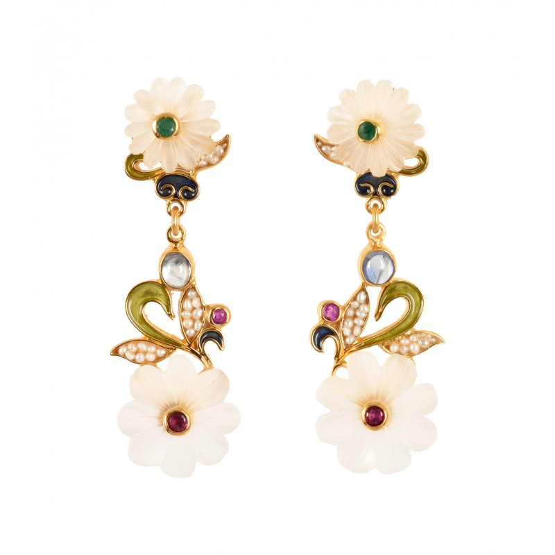 ROCK CRYSTAL FLOWER EARRINGS