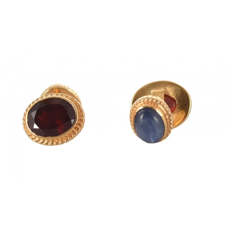 GARNET AND KYANITE CUFFLINKS